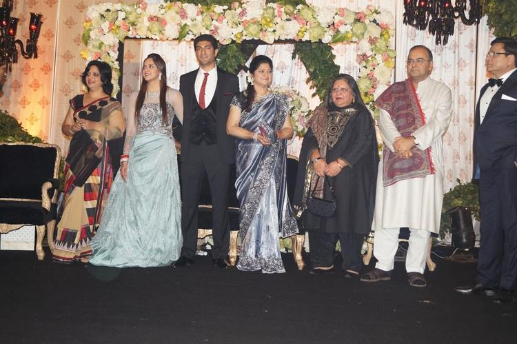 Bride Ahana And Groom Vaibhav Photo Shoot With Relatives At Their Reception Party