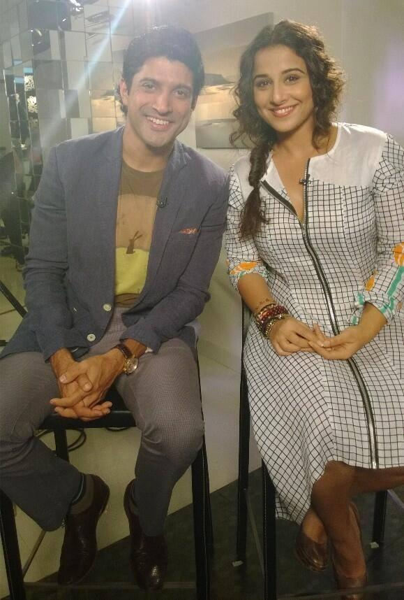 Farhan And Vidya On The Sets Of UTV Stars 'Stars Speak' For Promoting Shaadi Ke Side Effects