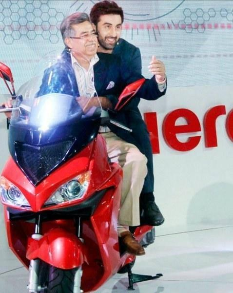 Bollywood Actor Ranbir Kapoor With Pawan Munjal, MD And CEO Hero Motocorp, At The Auto Expo 2014 In Greater Noida