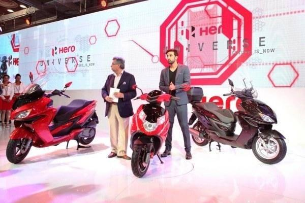 Ranbir Kapoor And Hero Motocorp MD Pawan Munjal At The Launch Of Hero's New Scooters At Auto Expo 2014