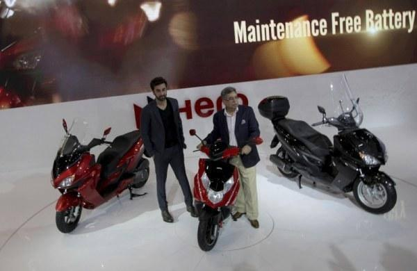 Ranbir Kapoor Posed For Camera During The Launch Of Hero Scooters At Auto Expo 2014