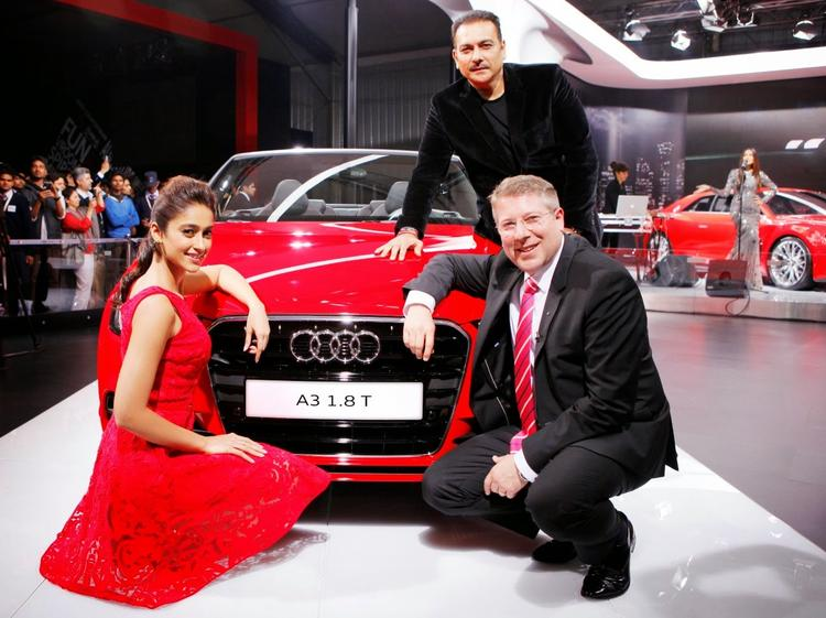 Ileana D'Cruz,Joe King And Ravi Shastri At Auto Expo 2014 For The Launch Of Audi A3 Cabriolet