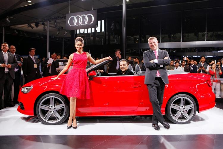 Ravi Shastri,Ileana D'Cruz And Joe King Posed With Audi A3 Cabriolet Car During The Launch Of Audi A3 Cabriolet At Auto Expo 2014