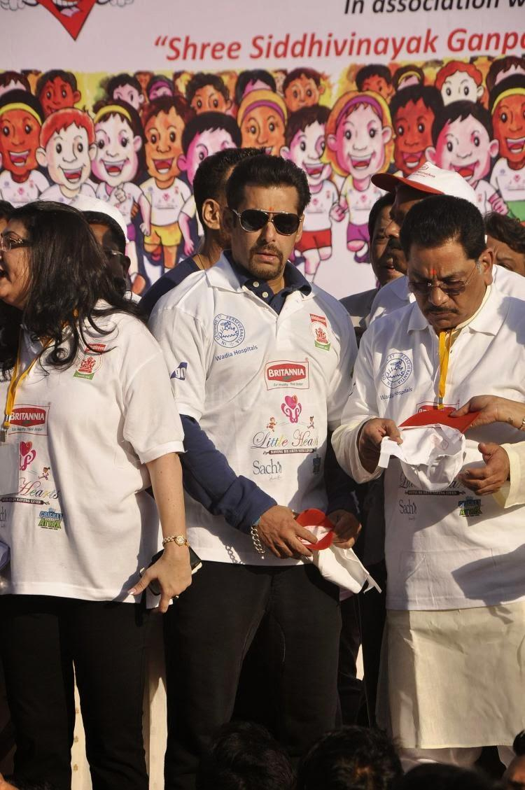 Salman Khan Spotted At Flags Off Little Hearts Marathon In Mumbai