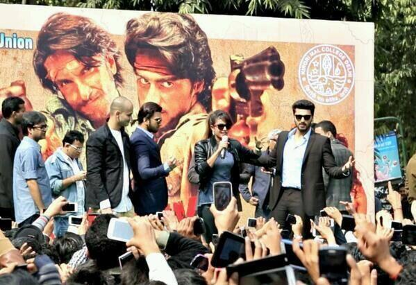 Priyanka,Ranveer And Arjun Promote Gunday At Kirori Mal College In Delhi