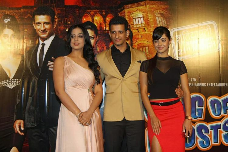 Actors Sharman,Meera And Mahi Gill During The Trailer Launch Of Film Gang Of Ghosts