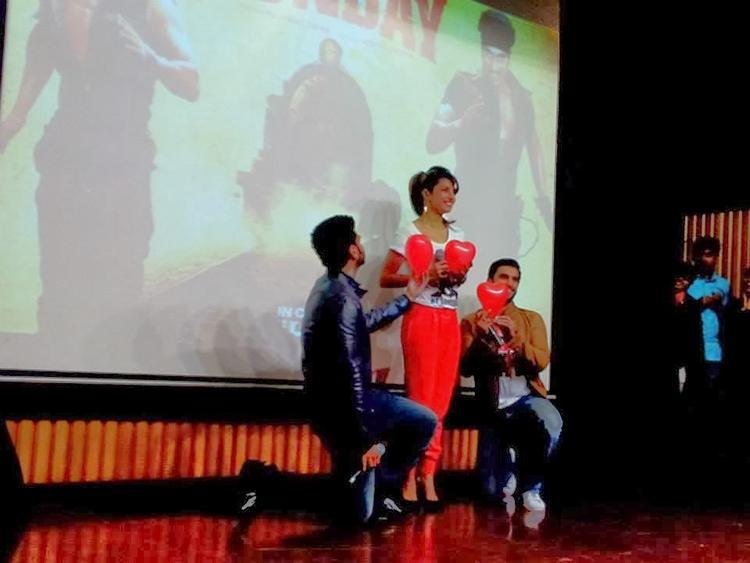 Arjun And Ranveer Propose Priyanka For Their Movie Gunday Promotion