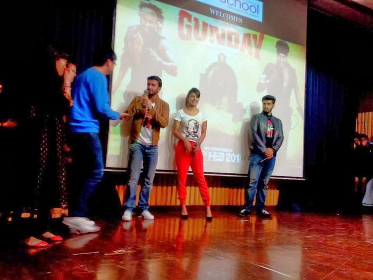 Priyanka,Arjun And Ranveer Having Fun Promoting Film Gunday At Welingkar College In Mumbai