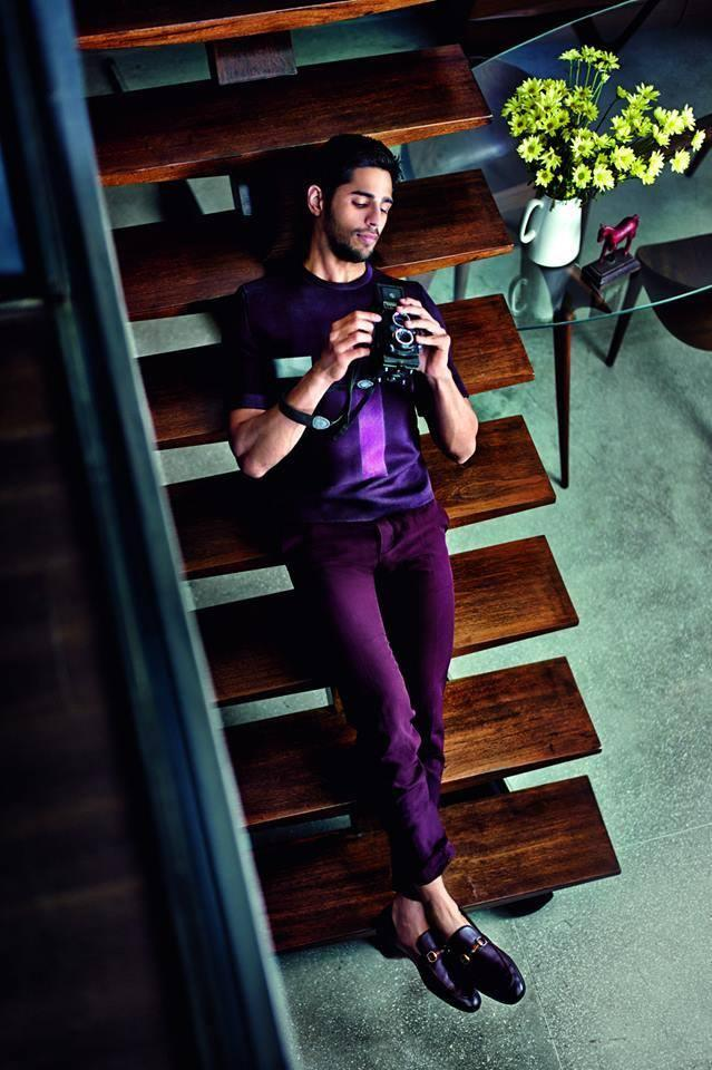 Sidharth Sleep On The Staircase For The Cover Of GQ India 2014 Feb Issue