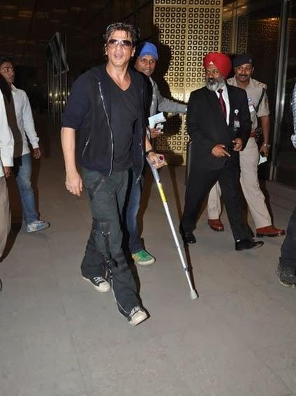 Injured Shahrukh Spotted At Airport With A Walking Stick And Crutches For Malaysia Concert