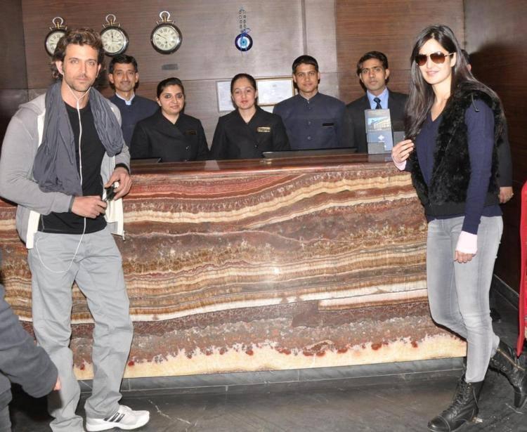 Hrithik And Katrina Pose For Camera At Hotel Marina In Shimla