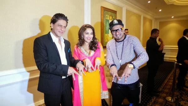 SRK,Madhuri And Honey Cool Posed At Temptation Reloaded 2014 Press Conference