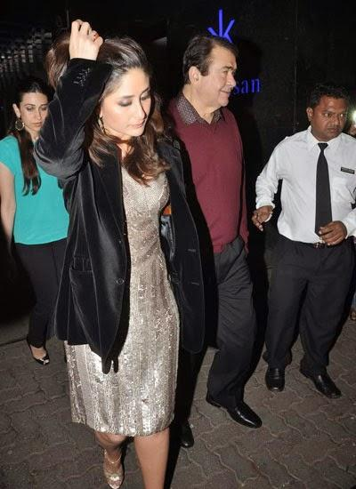 Both Sisters Karisma And Kareena With Her Dad Randhir At Randhir Kapoor's Birthday Bash