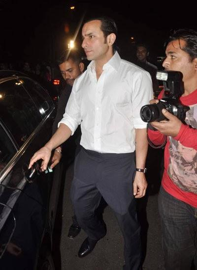 Saif Ali Khan Dashing Look In White Shirt At Randhir Kapoor's Birthday Bash