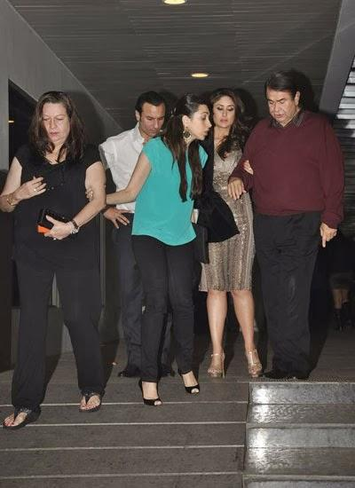 Saif,Karisma,Kareena And Randhir Spotted At Randhir Kapoor's Birthday Bash