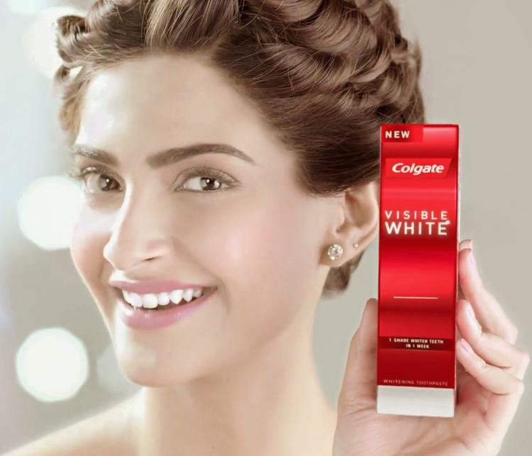 Bollywood Actor Sonam Kapoor During The Ad Shoot Of Colgate Visible White Tothpaste