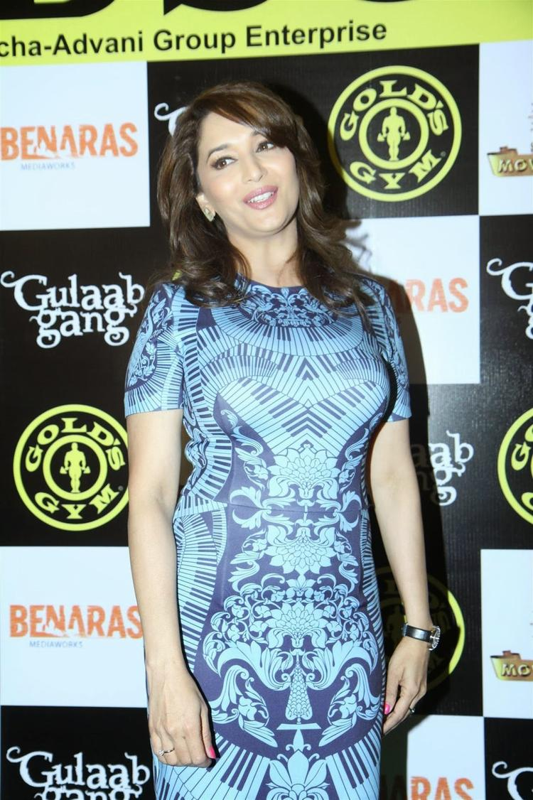 Dhak-Dhak Girl Madhuri Dixit Spotted At Gold Gym To Promote Her Upcoming Women-Centric Film 'Gulaab Gang