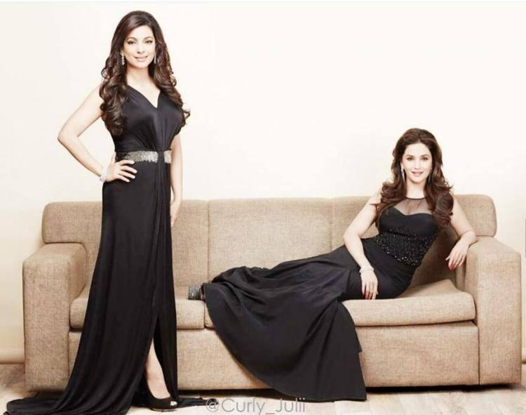 Madhuri And Juhi Looks Elegant In Black Gown On The Cover Filmfare