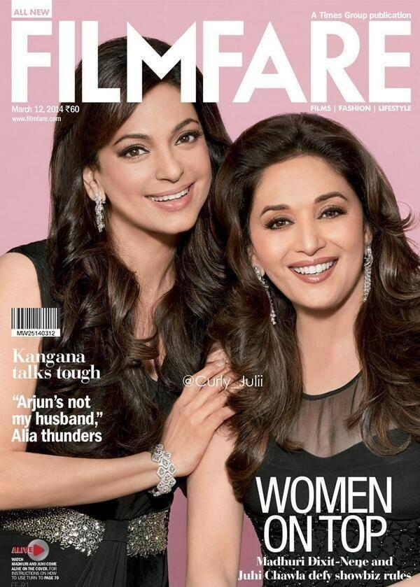 Madhuri And Juhi Smiley Face Stunning Pic On The Cover Of Filmfare 2014 Issue