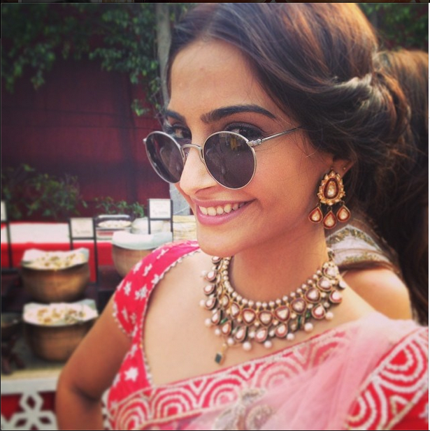 Smiling Sonam Kapoor Funny Pose At Her Friend's Wedding Ceremony