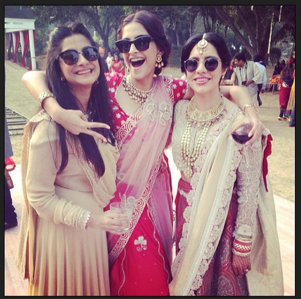 Sonam Kapoor Cool Posed With Her Friends At Her Friend's Wedding Ceremony