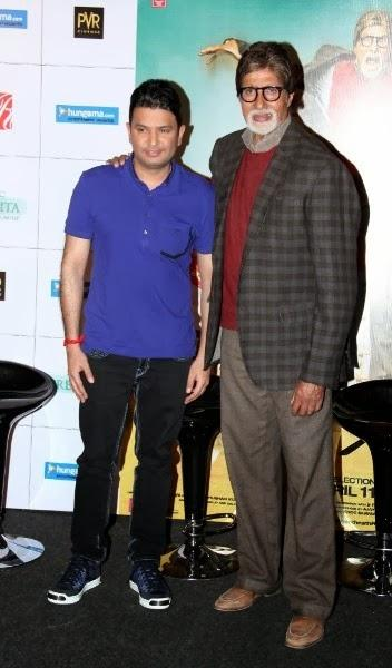 Amitabh And Bhushan Pose For Camera During The Trailer Launch Of Bhootnath Returns