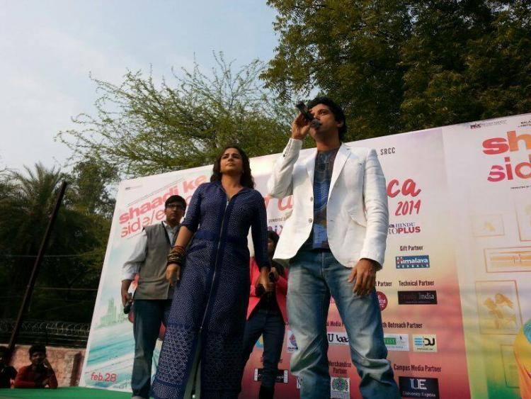 Farhan Akhtar And Vidya Balan Promote Their Upcoming Flick SKSE In Delhi