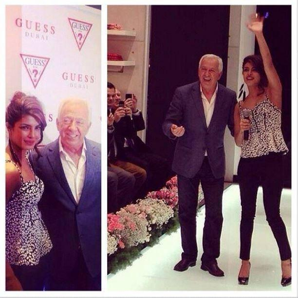 Priyanka Chopra Waves Her Hands To Fans At Dubai During The Launch Of GUESS Store