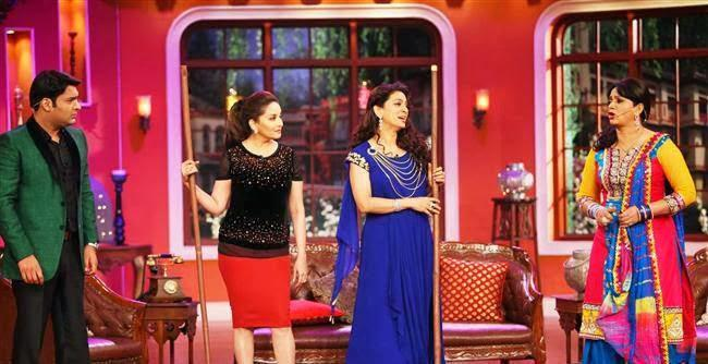 Kapil,Madhuri,Juhi And Upasana Posed During The Promotion Of Gulaab Gang On The Sets Of Comedy Nights With Kapil