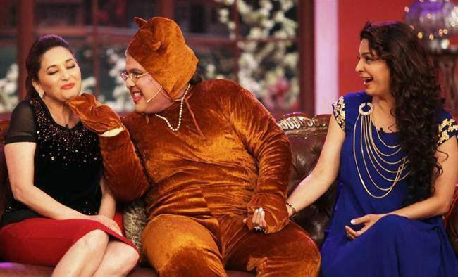 Madhuri,Ali And Juhi On The Sets Of Comedy Nights With Kapil During The Promotion Of Gulaab Gang