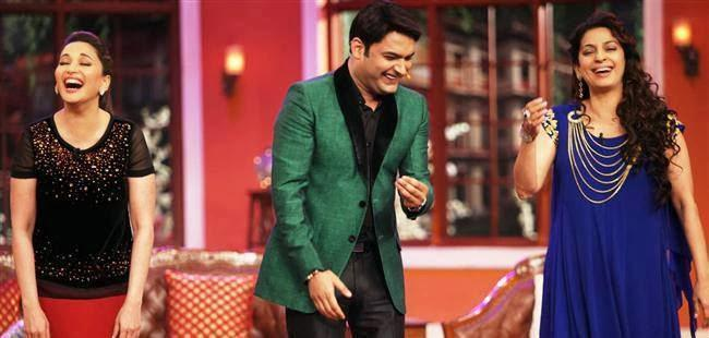 Madhuri,Kapil And Juhi Cool Laughing Look During The Promotion Of Gulaab Gang On The Sets Of Comedy Nights With Kapil