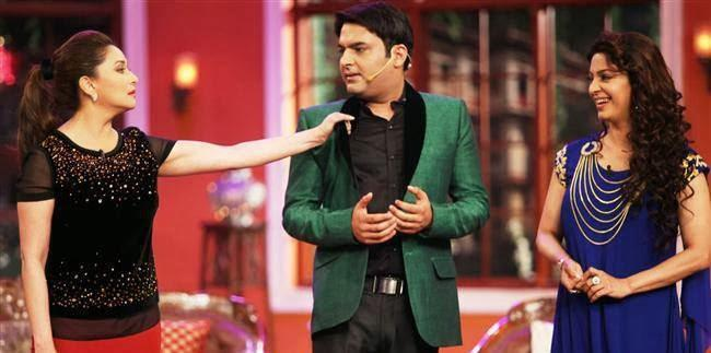 Madhuri,Kapil And Juhi On The Sets Of Comedy Nights With Kapil During The Promotion Of Gulaab Gang