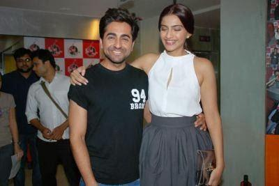 Ayushmann And Sonam Laughing Pose During The Promotion Of Bewakoofiyaan At Fever 104 FM