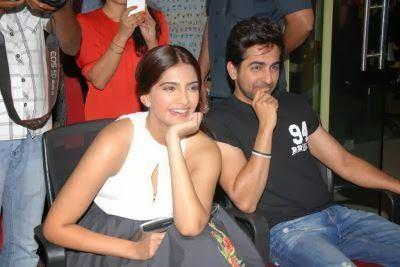 Smiling Sonam And Ayushmann Dazzling Look At Fever 104 FM During The Promotion Of Bewakoofiyaan