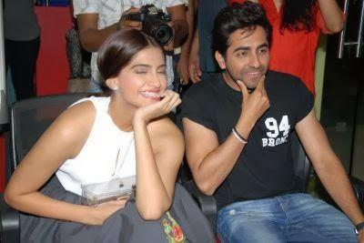 Sonam And Ayushmann Smiling Look During The Promotion Of Bewakoofiyaan At Fever 104 FM