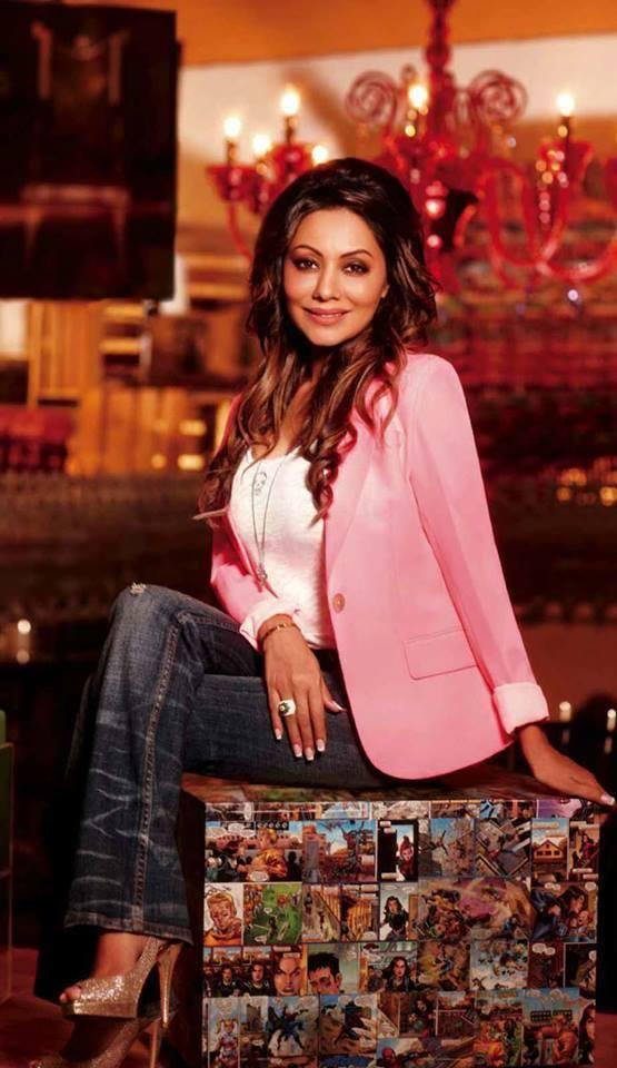 Gauri Khan Glamour Still In Pink Blazer On The Cover Of Hello Magazine