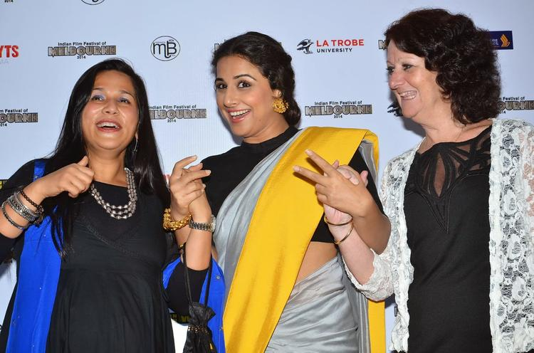 Mitu Bhowmick And Vidya Share A Light Moment The IFF Of Melbourne Press Conference