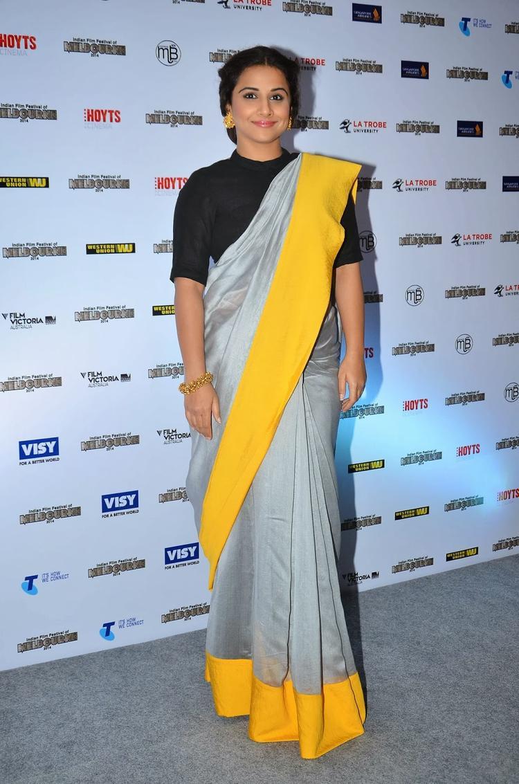 Vidya Balan In Saree At The IFFM 2014 Press Conference