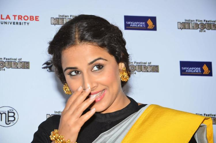 Vidya Balan Smiling Pic During The The Indian Film Festival Of Melbourne Press Conference