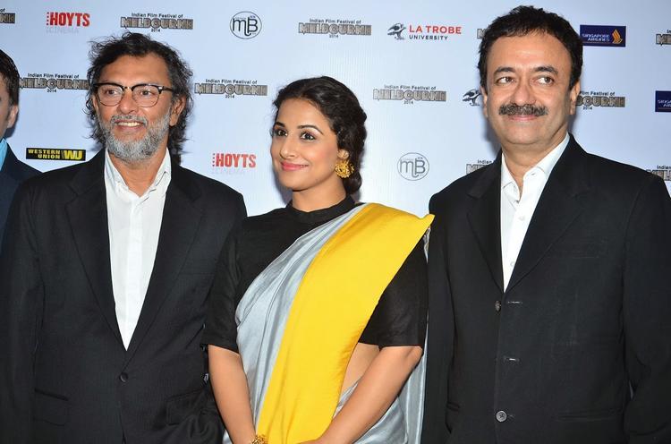 Vidya Balan,Rakeysh And Raju Hirani Pose During The IFFM 2014 Press Conference