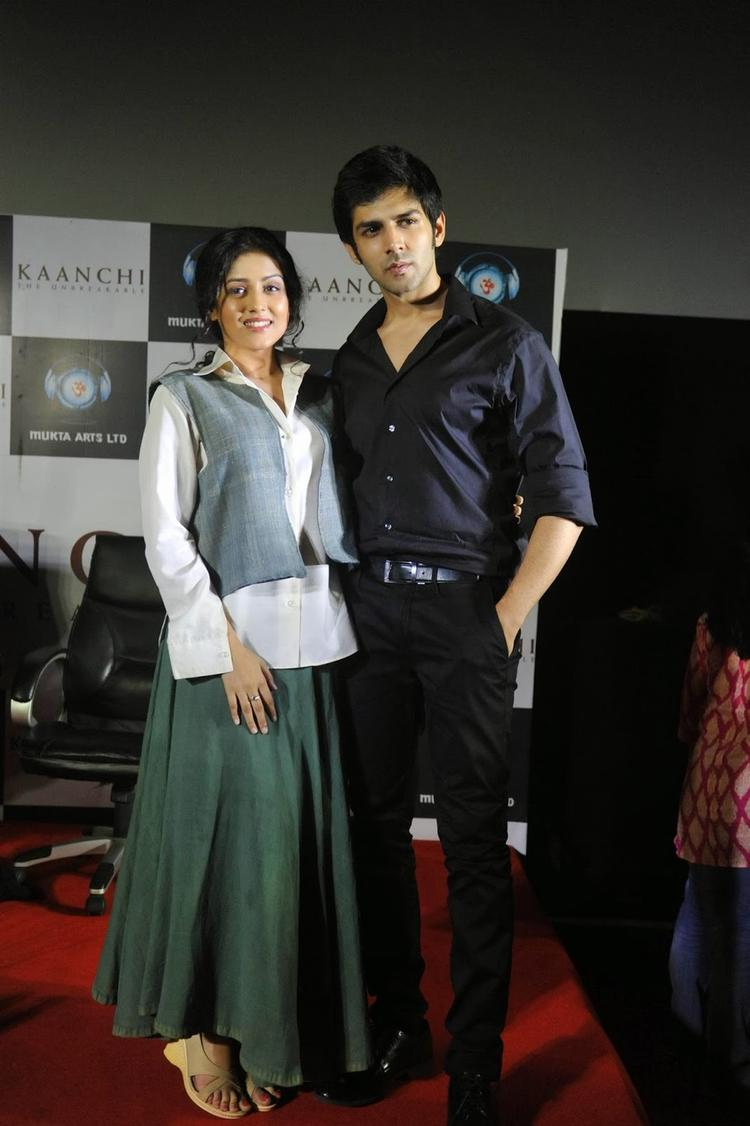 Kartik  And Mishti Sweet Pose For Camera At The Kaanchi Movie First Look Launch Event