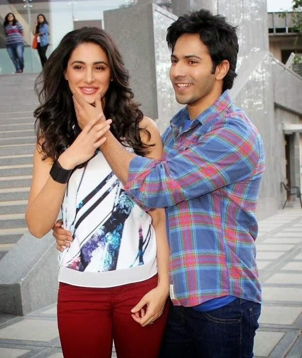 Varun Dhawan And Nargis Fakhri Cool Pose During The Promotion Of Main Tera Hero At Mithibai College
