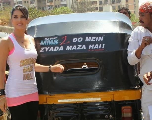 Sunny Leone Takes An Auto Rickshaw Ride To Promote Ragini MMS 2