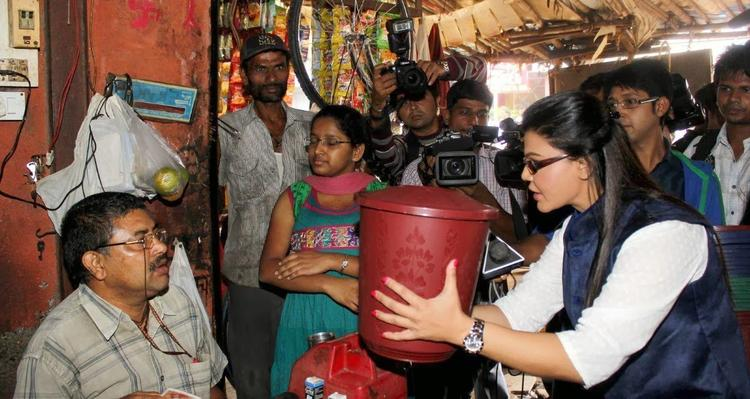 Rakhi Sawant Distributes Dustbins During Beti Bachao Desh Bachao Initiative On Women's Day