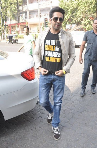 Ayushmann Khurrana Cool In A Tee And Denims With A Jacket During The Promotion Of Bewakoofiyaan At Cafe Coffee Day