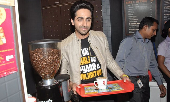 Ayushmann Khurrana Posed With Steaming Cup During The Promotion Of Bewakoofiyaan At Cafe Coffee Day