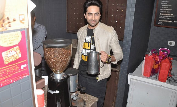 Ayushmann Khurrana Tries His Hand At Making Some Coffee During The Promotion Of Bewakoofiyaan At Cafe Coffee Day