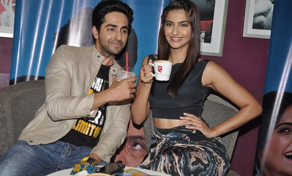Ayushmann Share His Coffee With Sonam During The Promotion Of Bewakoofiyaan At Cafe Coffee Day