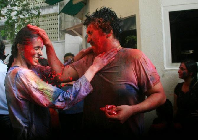Guests Are Playing Holi At Bappi Lahiri Residence During Holi Celebration