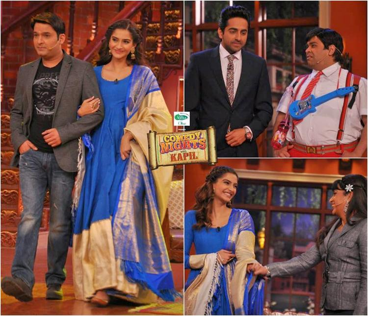 Sonam,Ayushmann And Kapil Cool Look During The Promotion Of Bewakoofiyaan On The Sets Of Comedy Nights With Kapil